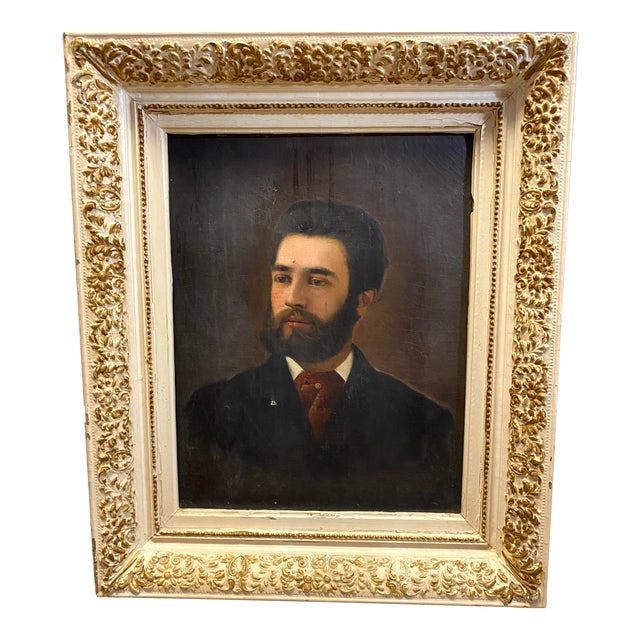 Antique 19th C. Oil on Canvas Portrait of a Handsome Bearded Man White Gilt Gold Frame For Sale