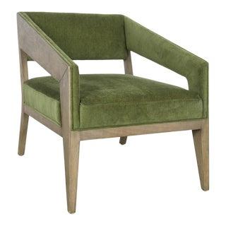 Deco Wood & Velvet Arm Chair For Sale