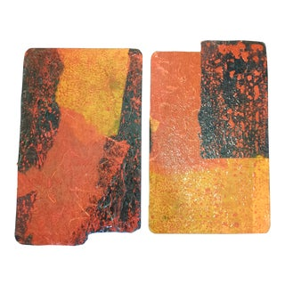 Abstract Multi Media Paintings, a Pair For Sale