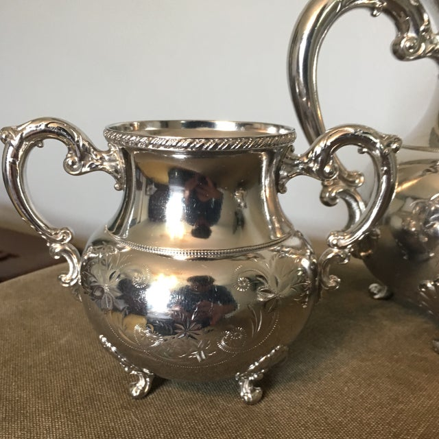 Silver 19th Century Victorian Homan Silver Co. Silver Plated Coffee Service - 3 Pieces For Sale - Image 8 of 10
