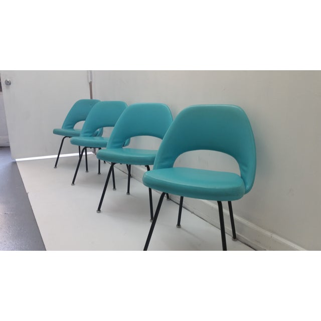 Eero Saarinen Turquoise Chairs - Set of 4 - Image 3 of 6