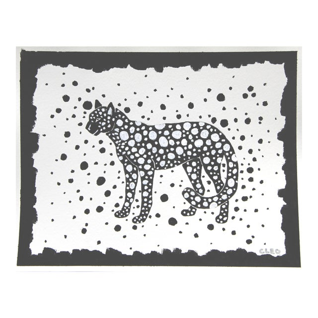 Leopard Cheetah Black & White Painting by Cleo Plowden For Sale