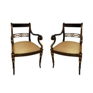 Maitland Smith Regency Style Armchairs- a Pair For Sale