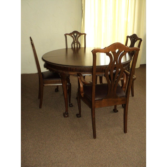 "Antique Walnut ""Chippendale Style"" Round Table & 6 Chairs For Sale - Image 4 of 11"