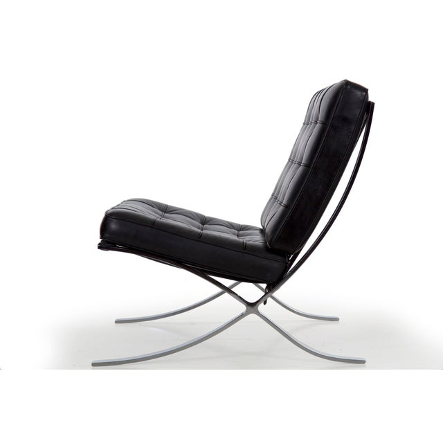 Early 21st Century Mid Century Modern Black Leather and Chrome Steel Barcelona Chair, Circa 21st Century For Sale - Image 5 of 13