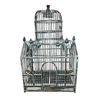 Vintage Painted Wood Bird Cage For Sale