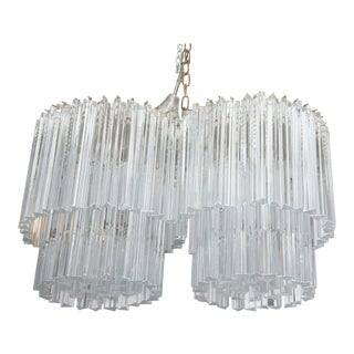 Venini Two-Tier Double Chandelier with Glass Triedri Prisms For Sale