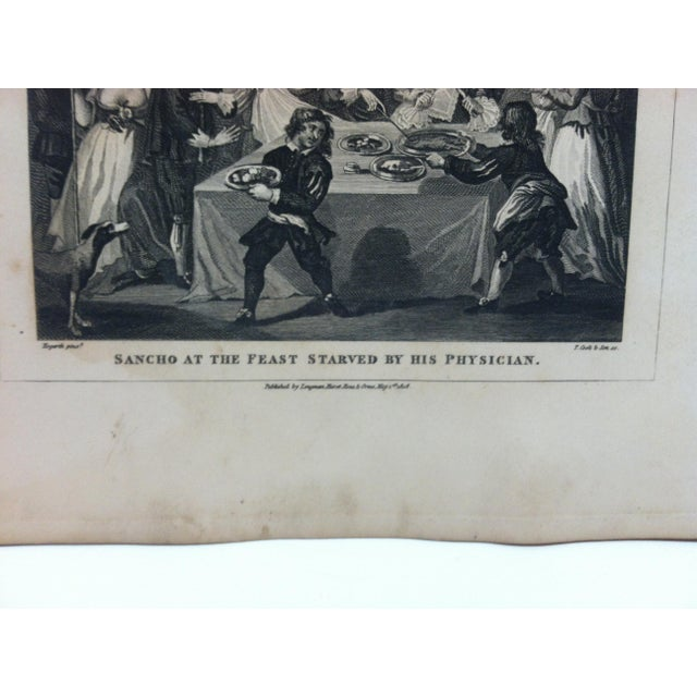 """English 1840s Antique """"Sancho at the Feast Starved by His Physician"""" John Hogarth Original Engraving Print For Sale - Image 3 of 4"""
