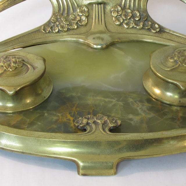 Art Deco Art Deco Brass & Onyx Inkwell For Sale - Image 3 of 5