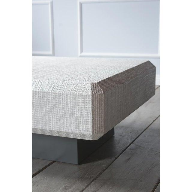 Karl Springer Karl Springer Floating Grass Cloth Coffee Table For Sale - Image 4 of 7