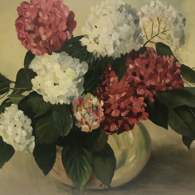 Shabby Chic 1952 Oil Painting by H G White, Still Life Hydrangeas For Sale - Image 3 of 8