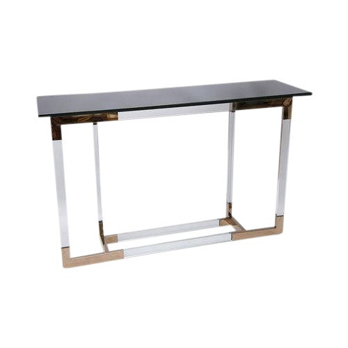 Lucite and Brass Console Table by Charles Hollis Jones For Sale
