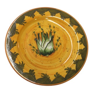 Italian Ceramic Platter Fennel Hand Painted