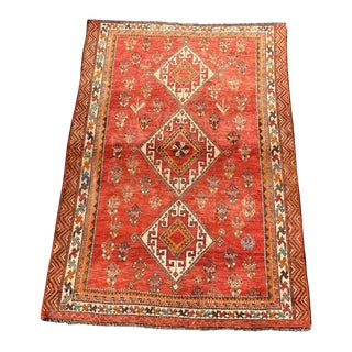 1950s Vintage Persian Shiraz Rug - 5′ × 7′7″ For Sale