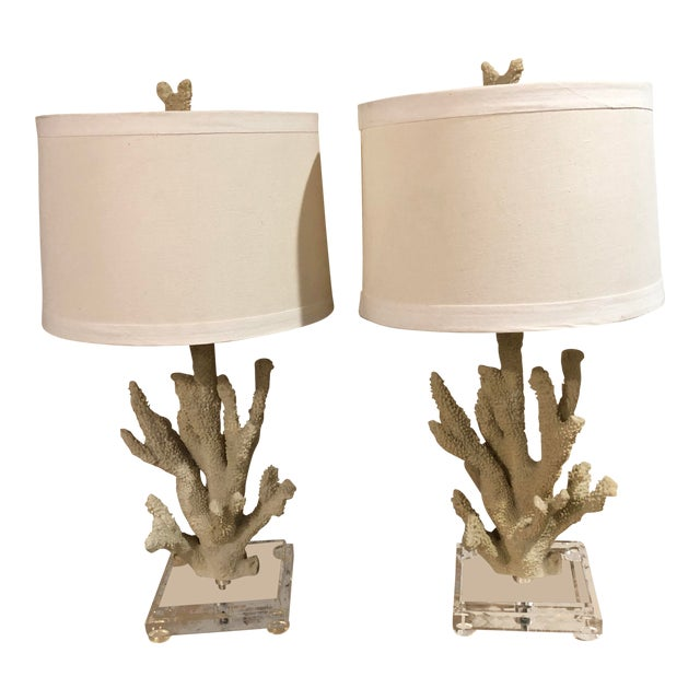 Faux Coral Custom Table Lamps on Lucite Bases - a Pair For Sale