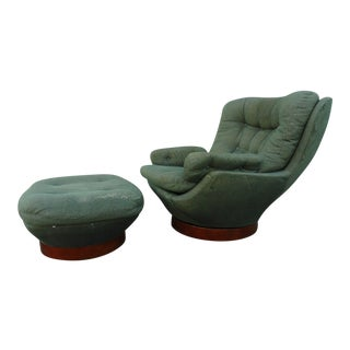1970s Vintage Michel Cadestin Club Chair & Ottoman - 2 Pieces