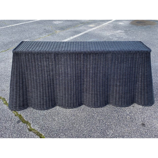 """Natural Rattan Console Table 79"""" Long in Black For Sale - Image 11 of 11"""