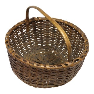 Antique Coastal Maine Hand Woven Splint Carry Basket For Sale