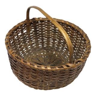 Antique Coastal Maine Splint Carry Basket For Sale
