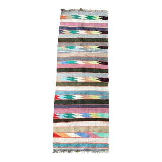 Cottage Style Flat Weave Kilim Runner Rug - 2.3 X 6.7 -- 106326 For Sale