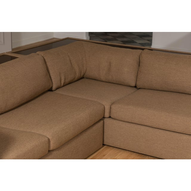 Mid 20th Century Four-Piece Milo Baughman Sectional Sofa with Original Polymer Shelf Back For Sale - Image 5 of 12