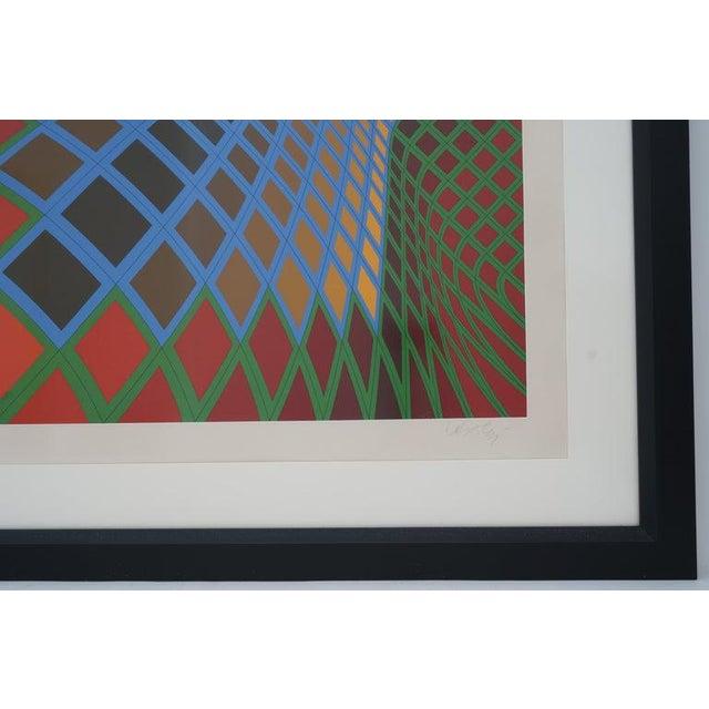 Blue Vintage Vasarely Pencil Signed and Numbered Limited Edition 67/250 Op Art Original Print Custom Framed For Sale - Image 8 of 11