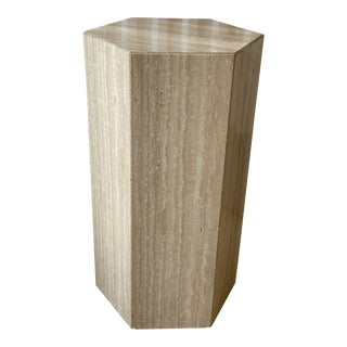 Vintage Hexagonal Italian Travertine Pedestal For Sale