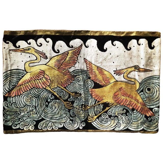 Mediterranean Heron Silk Velvet Pillow Cover For Sale - Image 3 of 3