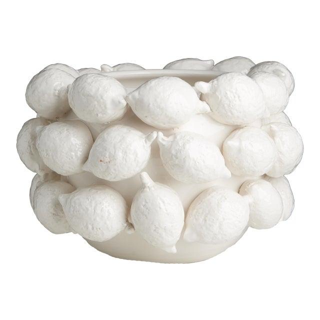 Ceramic Lemon Planter, White For Sale