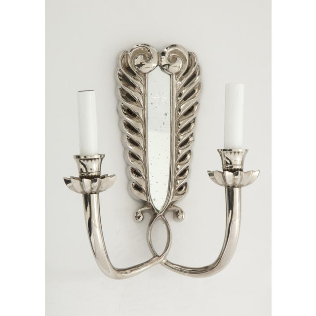 Metal Silver Double Arm Sconces - A Pair For Sale - Image 7 of 13