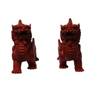 Chinese Handmade Red Cinnabar Pair Kirin Fengshui Figure For Sale