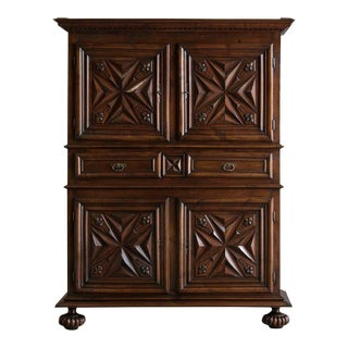 1800s French Louis XIII Style Walnut Cabinet For Sale