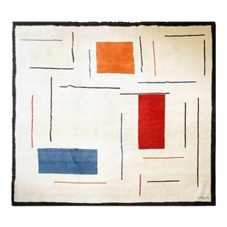 Boccara Limited Edition Handmade Artistic Wool Rug After Geneviève Claisse N.76 For Sale