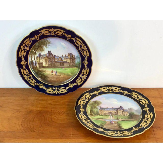 Pair of Sevres Chateau Plates For Sale - Image 12 of 13