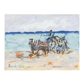 Goémonier à Avranches by Fanch Lel, Small 2013 Gouache on Board Painting, Signed For Sale