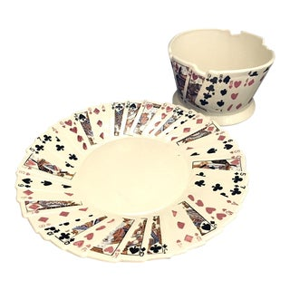 1970s Playing Card Platter and Bowl For Sale