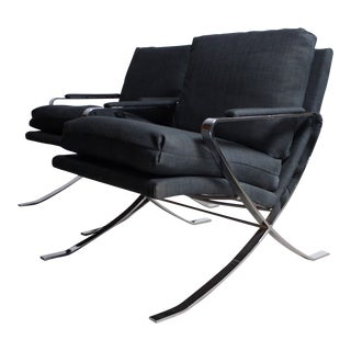 Bernhardt Chrome Lounge Chairs - A Pair For Sale
