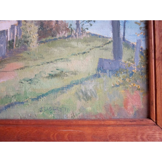 1970s 1971 Vintage Rural Cottage Scene Signed Acrylic on Canvas Painting For Sale - Image 5 of 10