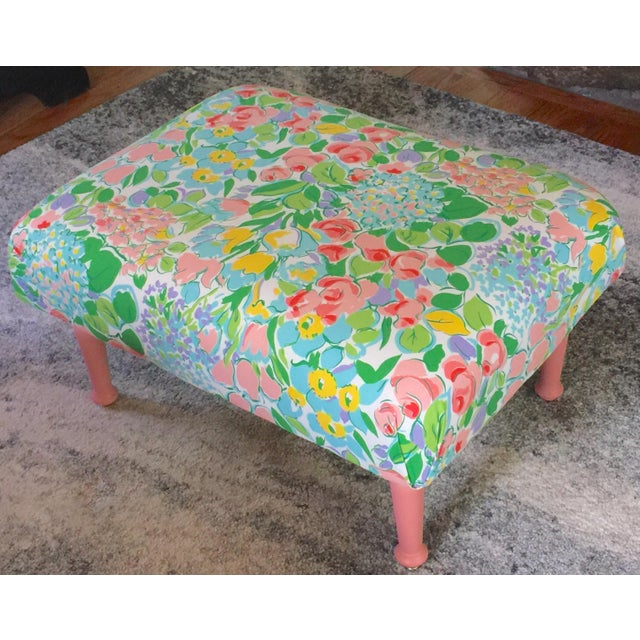 Antique Remixed Floral Ottoman For Sale - Image 4 of 6