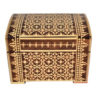 Vintage Russian Marquetry Wood Box For Sale