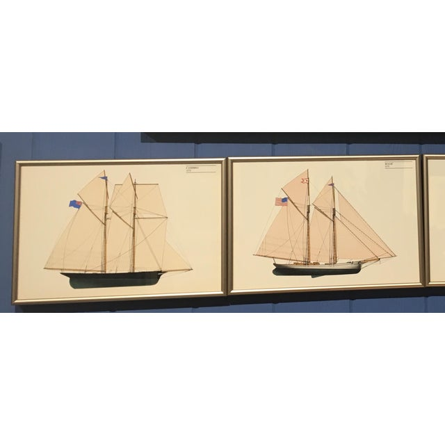 Nautical 1970s Americas Cup Winners Nautical Chromolithographs, Framed - Set of 4 For Sale - Image 3 of 4