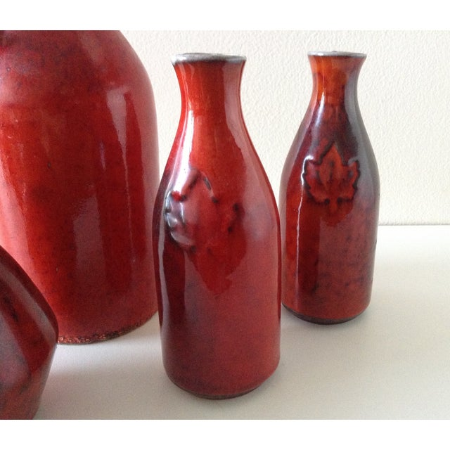 Terracotta Red Glazed Containers - Set of 4 - Image 5 of 10