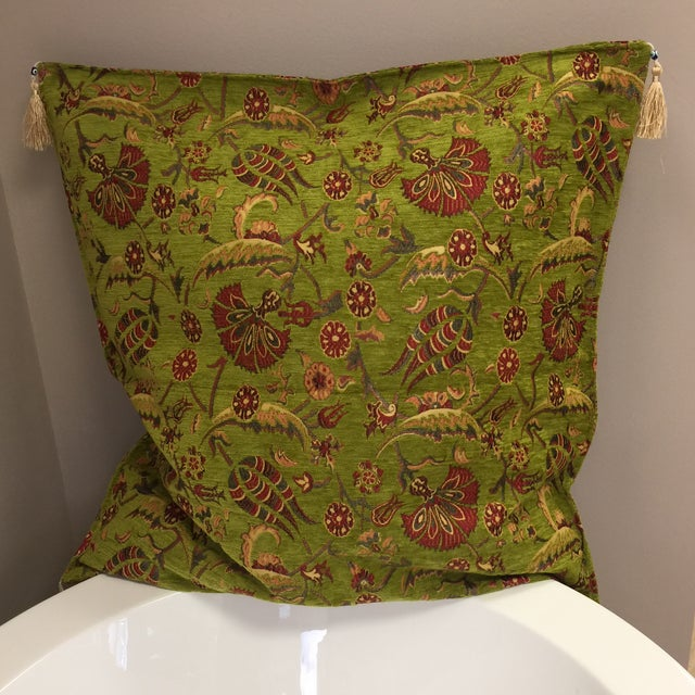 Fiber Modern Authentic Kilim Motif Green Pillow Cover For Sale - Image 7 of 7