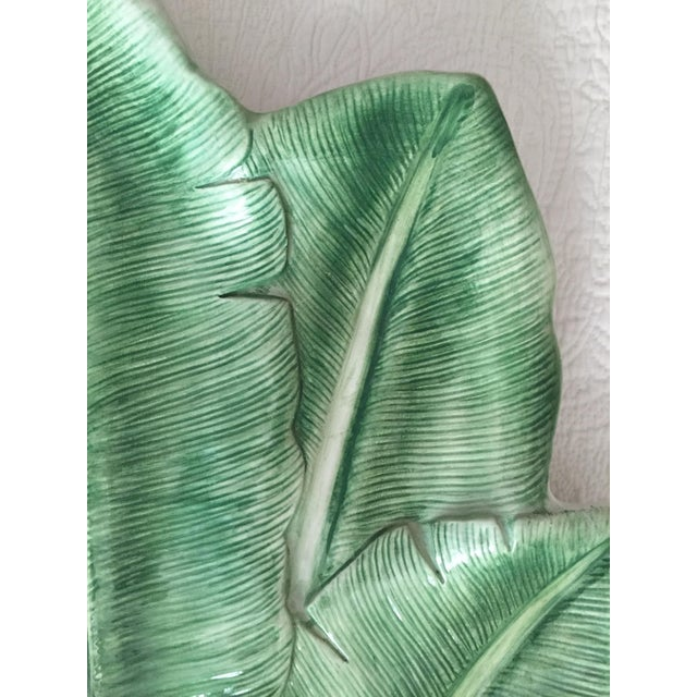 """Italian 19"""" Hand-Painted Banana Leaf Platter For Sale - Image 4 of 10"""