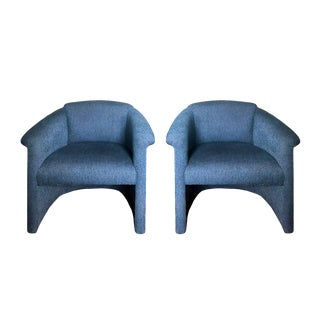 1980s Vintage Milo Baughman Blue Barrel Back Tub Accent Chairs - a Pair For Sale