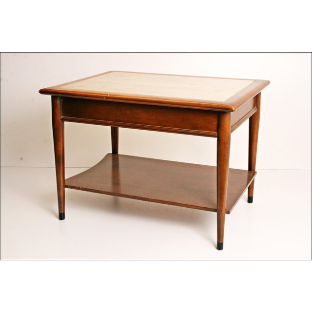 Danish Modern Wood Stone Top End Tables - Pair - Image 10 of 11
