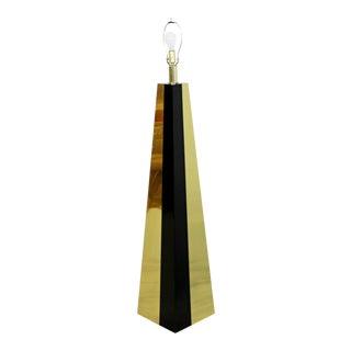 Contemporary Modern Brass & Black Lacquer Triangle Floor Lamp Springer Era 1980s For Sale
