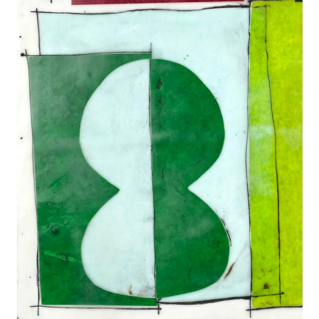 """""""The Green Hour"""" Contemporary Abstract Encaustic Collage Painting by Gina Cochran For Sale - Image 4 of 5"""
