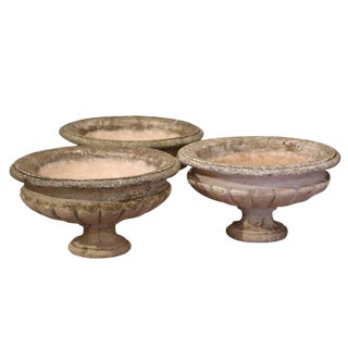 Set of Three Early 20th Century French Carved Weathered Sandstone Planters For Sale