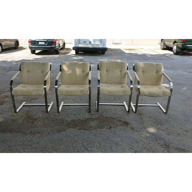 1970's Mid-Century Modern Brueton Heavy Thick Chromed Steel Arm Chairs - Set of 4 For Sale - Image 11 of 11